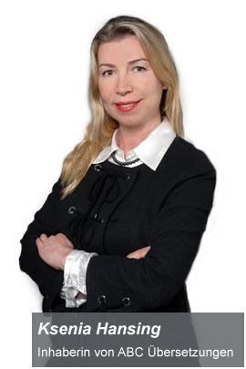 Ksenia Hansing ABC Übersetzungen Übersetzungsbüro in Köln Übersetzungen Fachübersetzungen und Dolmetscher